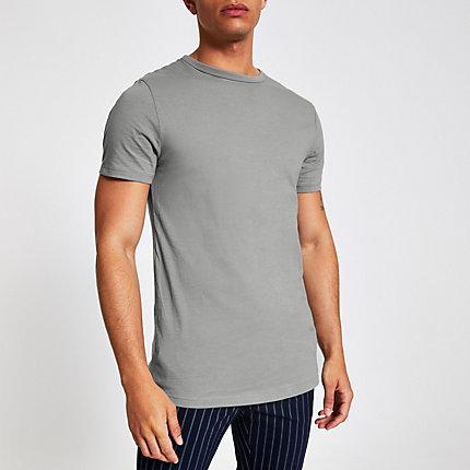 df61676b River Island Mens Grey curved hem longline T-shirt   The Fashionisto