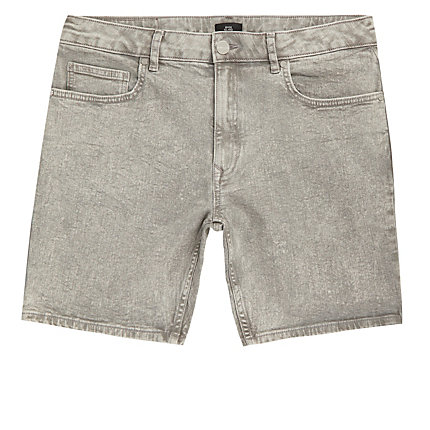 top-rated superior materials high quality River Island Mens Grey slim fit denim shorts