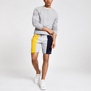 River Island Mens R96 yellow block slim fit jersey shorts