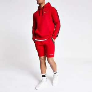 River Island Mens Red 'Prolific' muscle fit jersey shorts