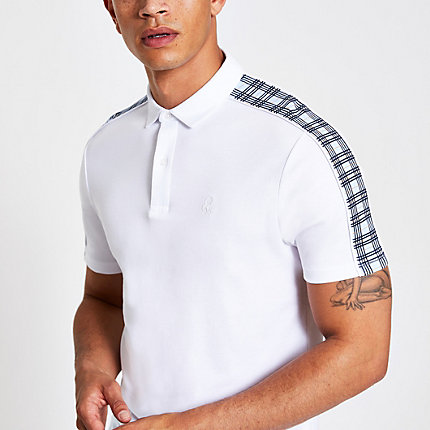 9558975c3 River Island Mens White check muscle fit polo shirt | The Fashionisto