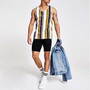 River Island Mens Yellow 'Prolific' stripe slim fit vest