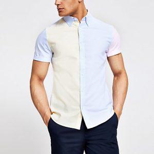 River Island Mens Yellow pastel block slim fit shirt