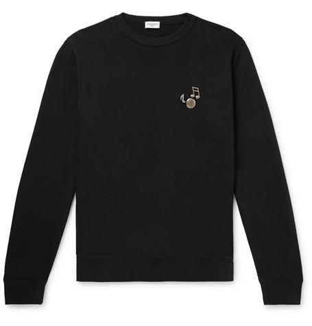 929c91c654c SAINT LAURENT – Embellished Loopback Cotton-Jersey Sweatshirt – Men – Black