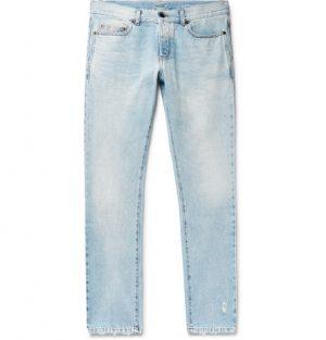 SAINT LAURENT - Slim-Fit 17cm Hem Distressed Washed Denim Jeans - Men - Light blue