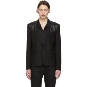 Saint Laurent Black Leather Chevron Western Blazer