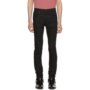Saint Laurent Black Raw Low-Rise Skinny Jeans