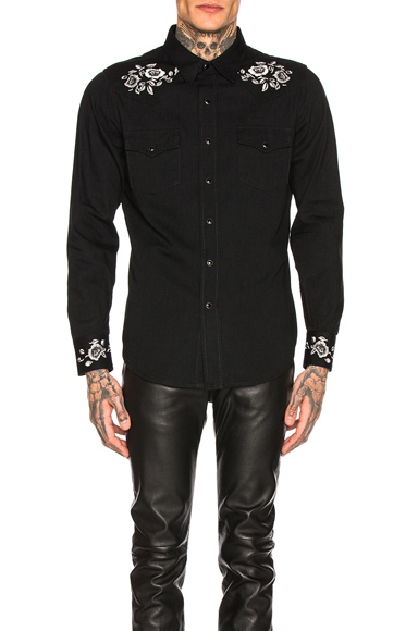 Saint Laurent Classic Western Shirt in Black,Floral. - size XL (also in L,S,M)