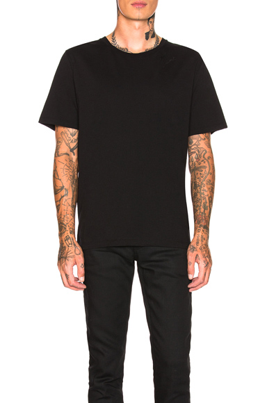 Saint Laurent Embroidered Script Tee in Black. - size S (also in )