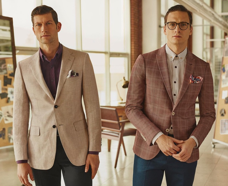 Models Jan Trojan and Alejandro Rodriguez suit up for Sarar's spring-summer 2019 campaign.