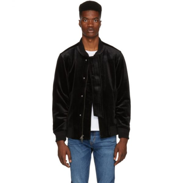 Saturdays NYC Black Velvet Flight Bomber Jacket
