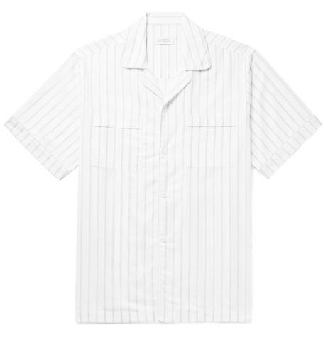 Saturdays NYC - Cameron Camp-Collar Striped Cotton-Blend Dobby Shirt - Men - White