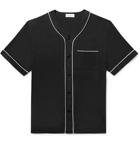 Saturdays NYC - Piped Lyocell Baseball Shirt - Men - Black