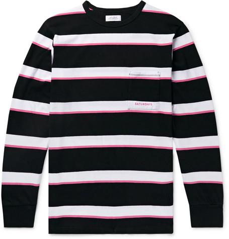 Saturdays NYC - Striped Cotton-Jersey T-Shirt - Men - Black