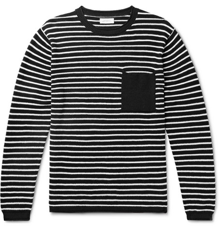 Saturdays NYC - Striped Cotton and Cashmere-Blend Sweater - Men - Black