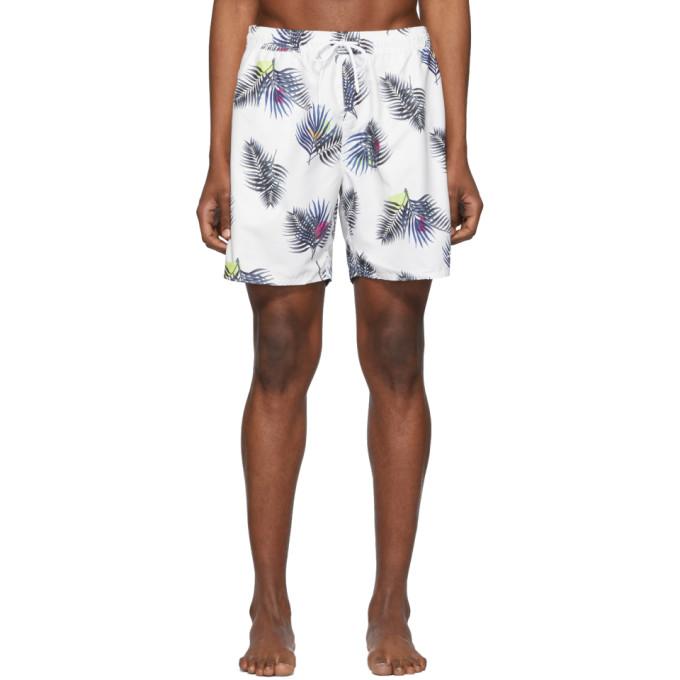 f095fa89f8 Saturdays NYC White Timothy Peak Palm Swim Shorts | The Fashionisto