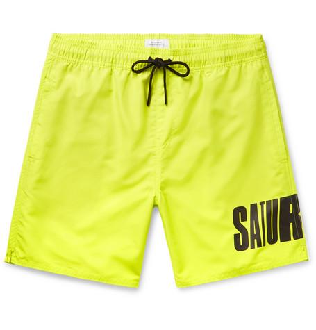 Saturdays NYC - Wide-Leg Long-Length Logo-Print Swim Shorts - Men - Chartreuse