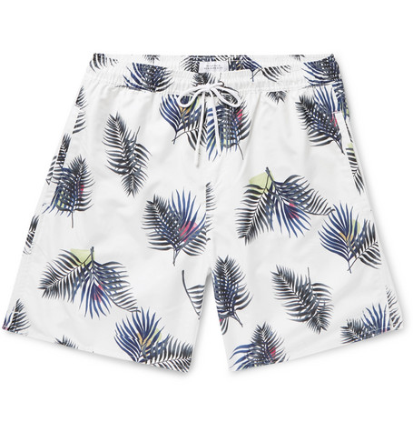Saturdays NYC - Wide-Leg Long-Length Printed Swim Shorts - Men - White