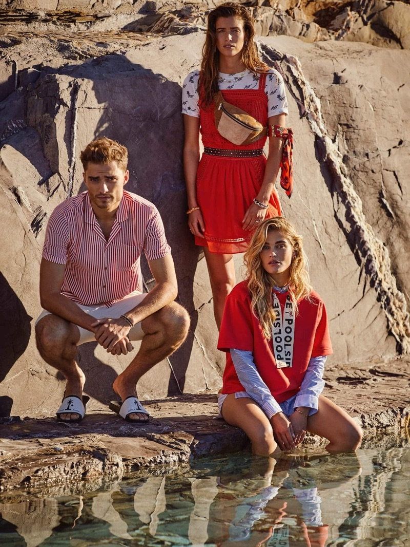 Pictured left, Ivan Kozak wears a red striped Hawaii shirt $109 by Scotch & Soda.