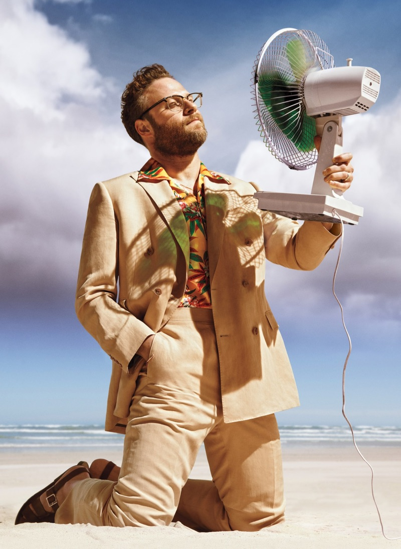A smart vision, Seth Rogen wears a Paul Stuart suit, SSS World Corp shirt, and Grenson sandals.