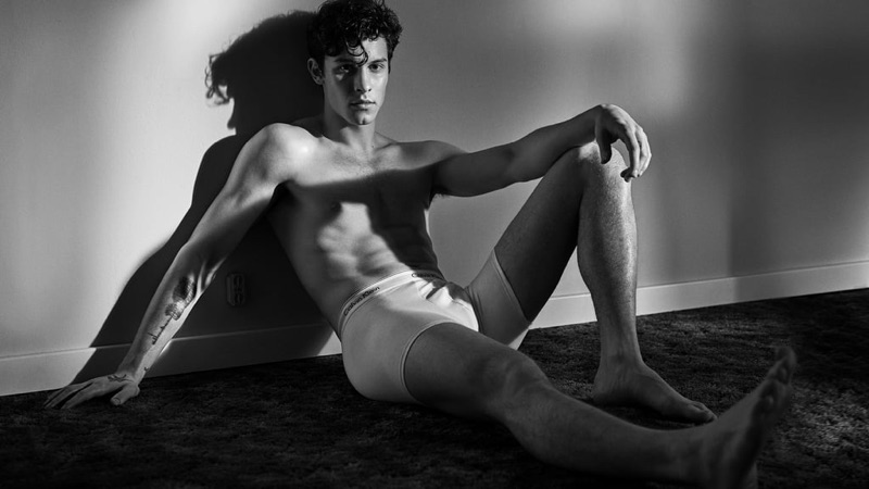 A shirtless Shawn Mendes appears in Calvin Klein's spring-summer 2019 underwear campaign.