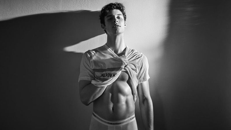 Front and center, Shawn Mendes goes shirtless for Calvin Klein's spring-summer 2019 underwear campaign.