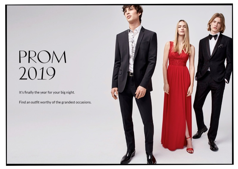 Louis Baines and Martijn Faaij wear prom fashions from Simons. Left: Louis dons a LE 31 stretch jacket and pants with a bouquet print shirt. Right: Martijn wears a Bosco tuxedo with a LE 31 shirt and bow-tie.