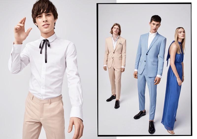 Embracing pastel hues, Louis Baines, Martijn Faaij, and Finn Hayton wear LE 31.