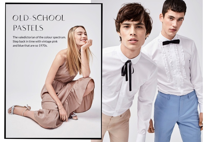 Ready for prom, Louis Baines and Finn Hayton wear tuxedo shirts and tailored pants from LE 31. Louis dons a LE 31 satiny ribbon tie while Finn sports a mini Blick bow-tie.