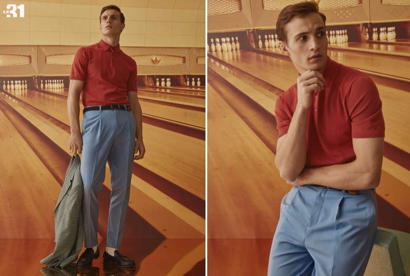 Sporting LE 31, Julian Schneyder models a silky knit polo with pastel wool pants and a braided belt.