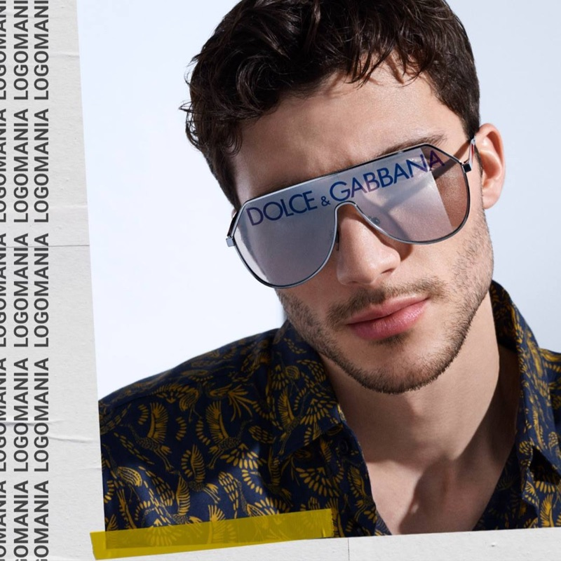Fredrik Massa wears oversized Dolce & Gabbana logo sunglasses $370.