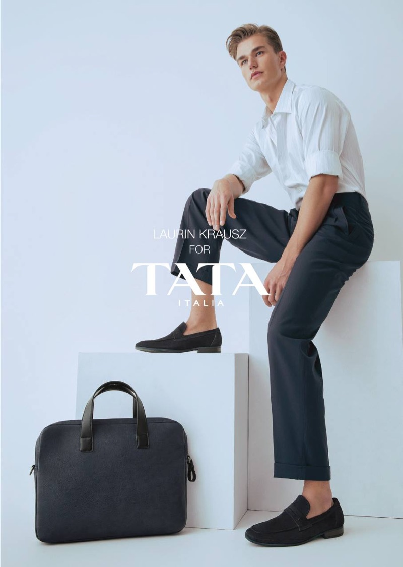 A smart vision, Laurin Krausz dons loafers for TATA Italia's spring-summer 2019 campaign.