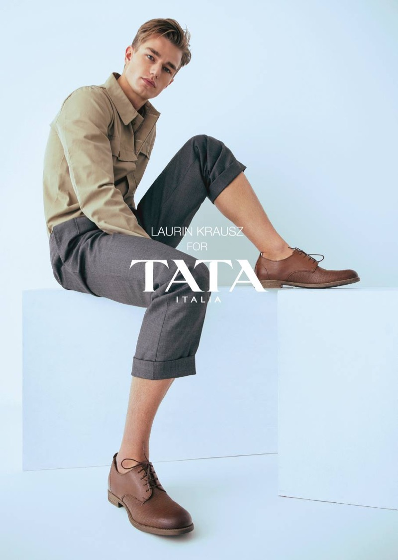 Sporting brown dress shoes, Laurin Krausz stars in TATA Italia's spring-summer 2019 campaign.