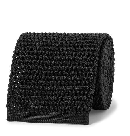 TOM FORD - 7.5cm Knitted Silk Tie - Men - Black