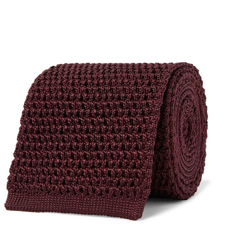TOM FORD - 7.5cm Knitted Silk Tie - Men - Burgundy