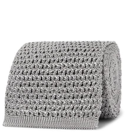 TOM FORD - 7.5cm Knitted Silk Tie - Men - Light gray