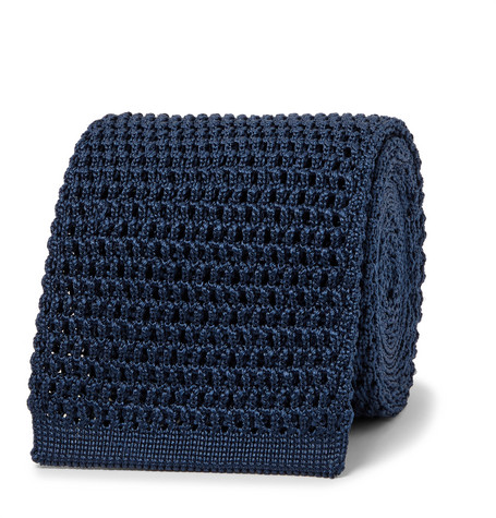 TOM FORD - 7.5cm Knitted Silk Tie - Men - Storm blue