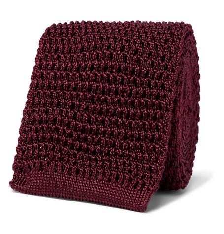 TOM FORD - 7cm Knitted Silk Tie - Men - Burgundy