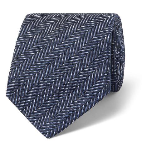 TOM FORD - 8cm Herringbone Woven Silk and Cotton-Blend Tie - Men - Navy