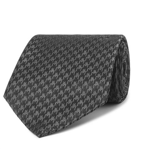 TOM FORD - 8cm Houndstooth Woven Silk-Blend Tie - Men - Black