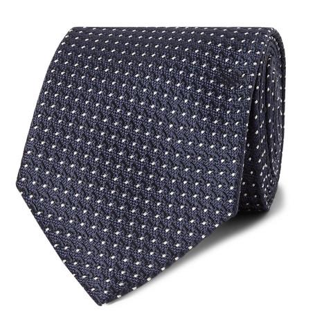 TOM FORD - 8cm Pin-Dot Silk-Jacquard Tie - Men - Navy