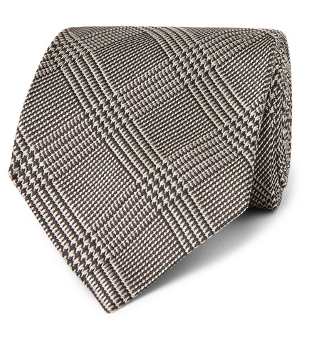 TOM FORD - 8cm Prince of Wales Checked Silk-Jacquard Tie - Men - Gray