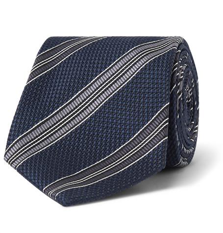 TOM FORD - 8cm Striped Woven Silk Tie - Men - Navy