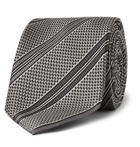 TOM FORD - 8cm Striped Woven Silk Tie - Men - Silver