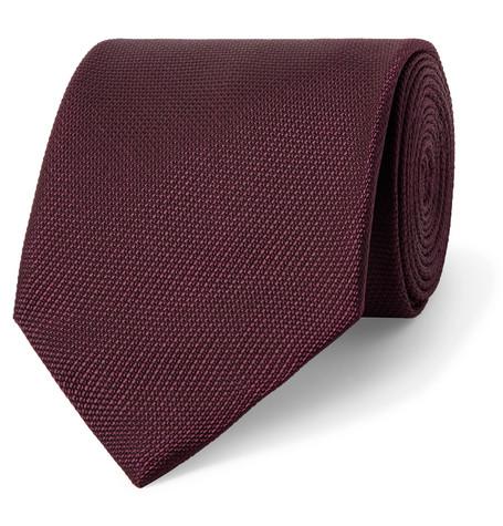 TOM FORD - 8cm Woven Tie - Men - Burgundy