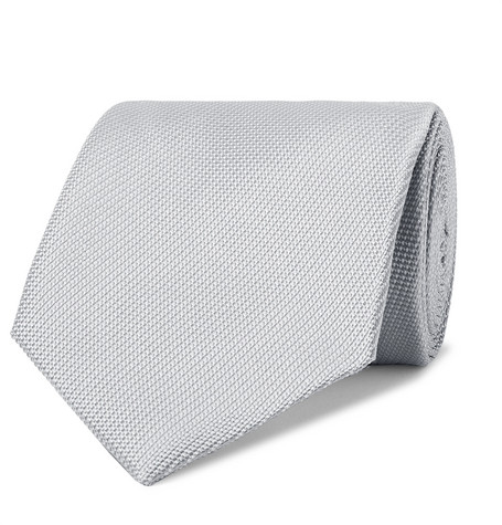 TOM FORD - 8cm Woven Tie - Men - Silver