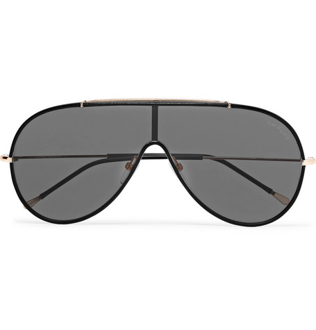 TOM FORD - Aviator-Style Leather and Gold-Tone Sunglasses - Men - Black