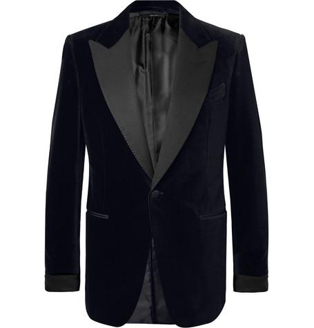 TOM FORD - Black Shelton Slim-Fit Faille-Trimmed Cotton-Velvet Tuxedo Jacket - Men - Black