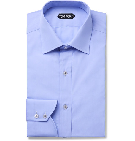 TOM FORD - Blue Slim-Fit Cotton-Poplin Shirt - Men - Blue