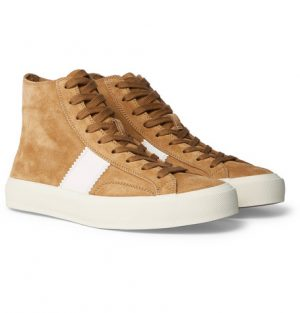 TOM FORD - Cambridge Leather-Trimmed Suede High-Top Sneakers - Men - Tan